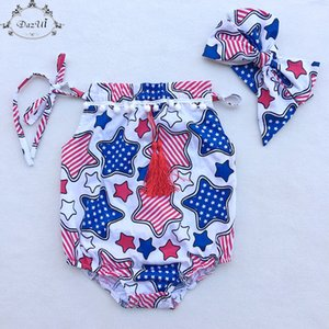 Wholesale Patriotic Baby Clothes Stars Printed Pillow Baby Girls Bodysuit Big Bow Headband Girls Bodysuit Set th Of July Baby Playsuit