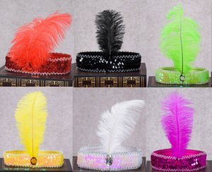 Wholesale Women Girls Elastic Ostrich Sequin Feathers Headband Indian Hair Band Hair Accessories Wedding Birthday Party Supplies