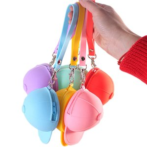 Wholesale Baseball Cap Coin Bag Cute Candy Color Silicone Bag Headphone Jewelry Silicona Storage Bag Portable Zipper Key Storage Boxes