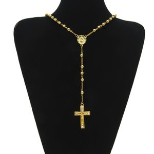 Wholesale Catholic Jesus Cross Pendant Rosary Necklace Long Bead Chain Cz Diamonds Ice Out Crucifix Charm Pendant Gold Plated Trendy
