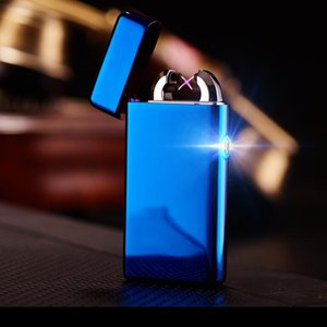 Wholesale 2017 Male gift Arc Lighters metal USB Rechargeable Flameless Electric Arc Windproof Cigar Cigarette Lighter Cross Double Pulse Slim Lighter