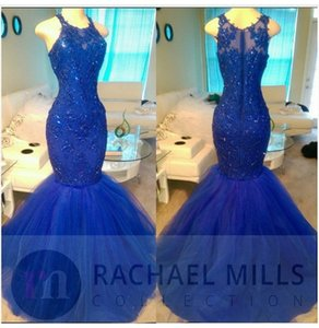 Wholesale Royal Blue Tulle Lace Mermaid Prom Dresses 2017 Crew Neck Appliques Beaded Formal Evening Gowns Real Picture Cheap Party Dress