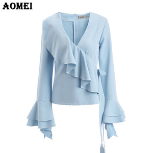 Wholesale Cerulean Blue Ruffle Blouse Shirts Fashion Office Elegant Tops Clothing Office Lady Workwear Peplum Autumn Bowknot Blusas