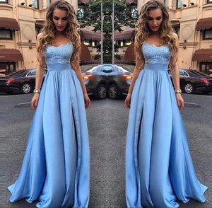 Glamorous Light Sky Blue Lace Formal Dresses Evening Wear Strapless Sleeveless A-Line Long Prom Dresses vestidos on Sale