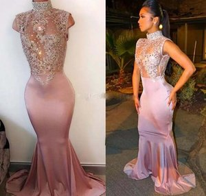 Sexy High Neck Shiny Prom Evening Dresses Mermaid Sleeveless Illusion Crystal Appliques Satin Pink African Black Girls Party Dresses Gowns on Sale