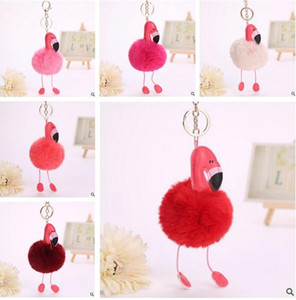 Wholesale Cute Cartoon Flamingo Keychain Lovely Fluffy Artificial Rabbit Fur Ball Key Chain Animal Bird Pompom Women Car Bag Key Ring