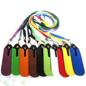 Wholesale Colorful PU Leather Lanyard Case Portable Carrying Pouch Pocket Rope Round Corner Case Cover for EGO Electronic Cigarette DHL Free