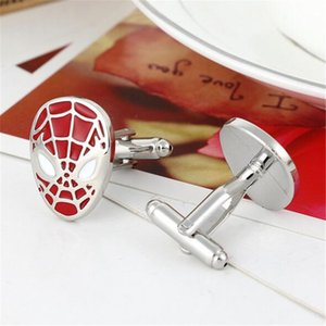 Wholesale French Cufflinks Men's Cuff Links for Men Trend Jewelry Metal Spider-man Sign Shirt Accessories Party Decoration DHL Free
