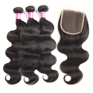 Malaysian Unprocessed Virgin Hair 3 Bundles With Closure Brazilian Body Wave Remy Human Hair Weaves Closure Top Grade Cheap Hair Extensions