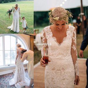 Spring Summer Full Lace V Neck Wedding Dresses 2019 Elegant Long Sleeve Back Cover Button Sweep Trian Boho Garden Beach Bridal Gown Hot Sale