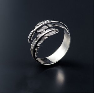 Wholesale New Fashion Designed Vintage Feather Ring Rerto Leave Ring Adjustable Leaf Ring For Man Woman Finger Wrap Jewelry