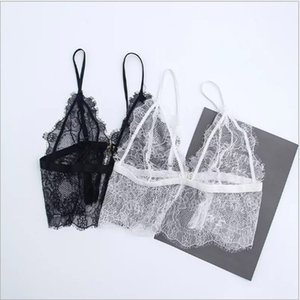 Wholesale Lace Crochet Tank Top Sexy Cropped Camisole Bra Transparent Tank Top Deep V Neck Lace Bralette Top Spaghetti Strap