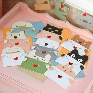 Wholesale 9 styles Cartoon Animal Envelope Message Card Thank Card Baby Birthday Invitations Greeting Card Holiday Cards Universal Sheet