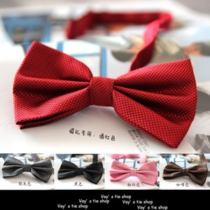 Wholesale Colors Solid Fashion Bowties Groom Men Colourful Plaid Cravat gravata Male Marriage Butterfly Wedding Bow ties