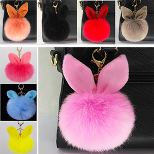 Wholesale Plush Ball Toys Charm Fake Rabbit Fur Ear Keychain Pendant Handbag Key Ring Jewelry Toys Gifts For cm HH K03