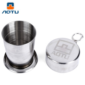 Wholesale Portable ML AOTU Telescopic Cup Stainless Steel Folding Collapsible Outdoor Travel Cup Keychain For Outdoor Travel Camping B