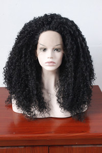 Wholesale Curly Wigs For Women Glueless Black Lace Front Wig Synthetic With Baby Hair Heat Resistant Fiber Hair Half Hand Tied inches