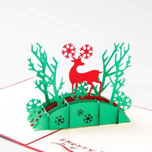 Free Shipping Christmas 3D Pop Up Cards Santa Deer Christmas Tree Handmade Kirigami & Origami Greeting Cards