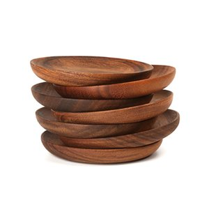 Wholesale Diameter CM Handmade Wooden Food Sweets Fruit Dessert Coffee Dish Round Wood Dinner Tableware Plates Tray