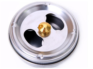 Wholesale Eco Friendly cm Stainless Steel Ashtray With Lid Rotation Closed Off Smoke Function Ashtrays Soot Barrel DHL