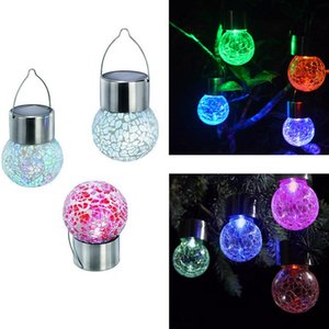 Wholesale LED Solar Lamp Color Change Crack Ball Glass House Decor Sense Night Light Child Bedroom Decorative Pendant Gifts