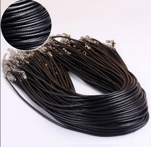 Fashion Style 100pcs Black Leather 1.5mm Cord Necklace With Lobster Clasp Charms Jewelry Gift - Free Shipping + Free Gift