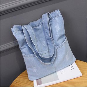 Women leisure handbag denim totes school carrying bag one shoulder woman street leisure shopping bag deep light blue