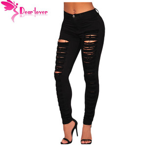 джинсы любовника оптовых-Dear Lover Fashion Casual Black Denim Destroyed Hole High waist Skinny Jeans Pencil Ripped Pants Trousers Womans Calcas LC78646