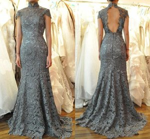 Wholesale New Gray Lace Mother of the Bride Groom Dresses Mermaid High Collar Short Cap Sleeves Open Back Sweep Train Evening Party Gowns