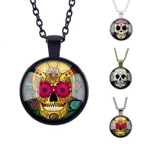 Wholesale Hot sale New long sweater candy color tattoo skulls gemstone pendant necklace WFN368 with chain mix order pieces a