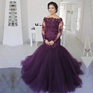 Purple Tulle Plus Size Mother Of The Bride Dresses Long Sleeves Appliques Boat Neck Mermaid Formal Evening Gowns Wedding Guest Dress on Sale