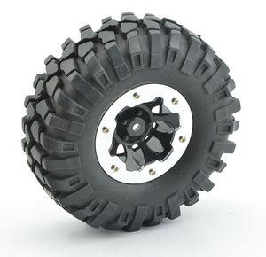 LNL 4Pcs 1:10 Rc Crawler 108mm Tires 1.9'' Wheel Rim Beadlock for Axial SCX10 D90 RC Rock Crawler Truck