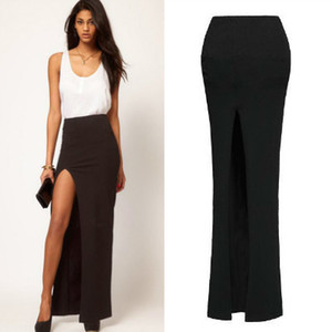 Wholesale 2016 New Fashion Women Sexy Floor length Long Skirts Lady Summer Elastic Open Side Split Black Skirt HOt Sale