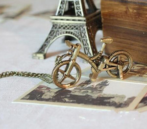 Wholesale Europe America Hot Sale Vintage Style D Bicycle Bike Pendant Fashion Bronze Sweater Long Chain Necklace