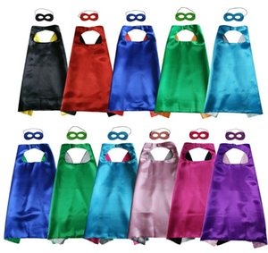Double wear Cape and Mask with 2 different colors sides 11colours 70*70cm Capes for Kids Christmas Halloween Cosplay Prop Costumes clothing