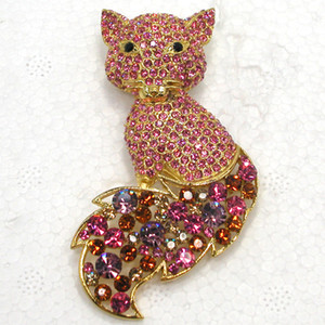 Wholesale Fashion brooch Rhinestone Big Fox Pin brooches C102032