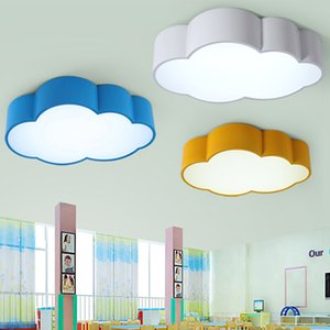 LED cloud kids room lighting children ceiling lamp baby ceiling light with yellow blue red white color for boys girls bedroom fixtures on Sale