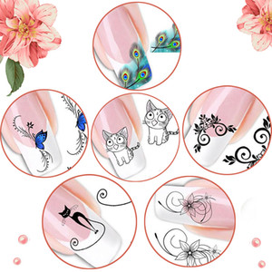Wholesale Nail Beauty Salon DIY Design Cartoon Cat Water Transfer Nail Art Sticker Nail For Decorate Easy Apply And Remove