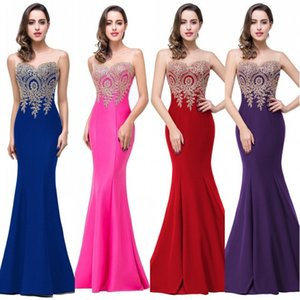 2017 Sexy Crew Neck Sleeveless Designer Evening Dresses Mermaid Lace Appliqued Long Prom Dresses Red Carpet Cheap Bridesmaid Dress Under 50 on Sale