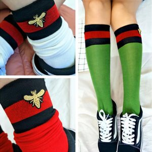 2018 Stripe Socks Fashion Brand Embroidery Bee Stockings Sport Socks Hip Hop Casual Socks