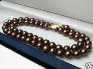 "GENUINE FINE 20"" 8-9MM SOUTH SEA CHOCOLATE PEARL NECKLACE 14k"