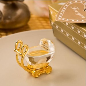 Wholesale gold wedding carriage for sale - Group buy 50PCS Clear Crystal with Gold Baby Carriage Newborn Christening Gift Golden Wedding Favors Birthday Souvenir Party Giveaways