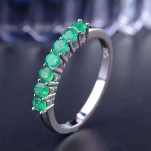 Wholesale 100% natural gemstone ring solid 925 sterling silver emerald ring 7 pcs 2.5mm round natural emerald gemstones ring simple design