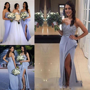 2017 Lavender Mermaid Front Split Bridesmaid Dresses Sweetheart Ruffles Train Formal Wedding Guest Party Cheap Evening Gowns Custom Made on Sale