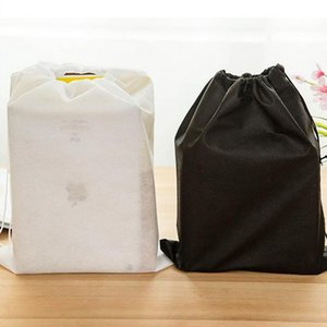Wholesale 2017 new Non woven Shoe Drawstring Travel Storage Shoe Dust proof Tote Dust Bag Case Black White Pouch Tote Bag Dust proof Shoe Free ship