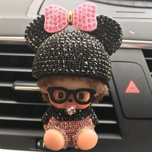Wholesale Rhinestone Mickey Air Outlet Perfume Exquisite Car Perfume Car Mounted Drilling Perfume Air Conditioner Car Air Freshener styling