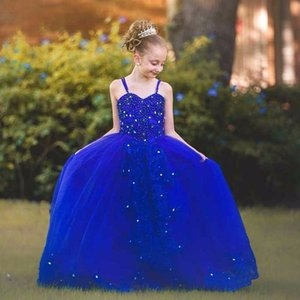 2017 Royal Blue Flower Girl Dresses Customize Beading Star Dreamlike First Communion Dress for Girls Sweetheart Pageant Dresses