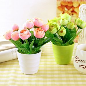 Wholesale Home Decoration Simulation Mini Bonsai Potted Artificial Flowers Plastic Vase Desktop Indoor Decorative Flowers