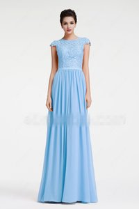 Wholesale bridesmaids dresses fast resale online - Blue Beach Long Modest Bridesmaid Dresses With Cap Sleeves Lace Chiffon A line Country Formal Wedding Party Gowns Custom Made Fast Shipping