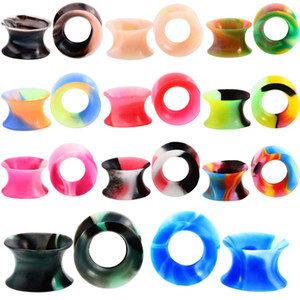 Wholesale 11Pair Silicone Flexible Thin Double Flared Flesh Tunnel Ear Plugs Ear Gauge Expander Stretcher Earlets Earrings Ear Piercing